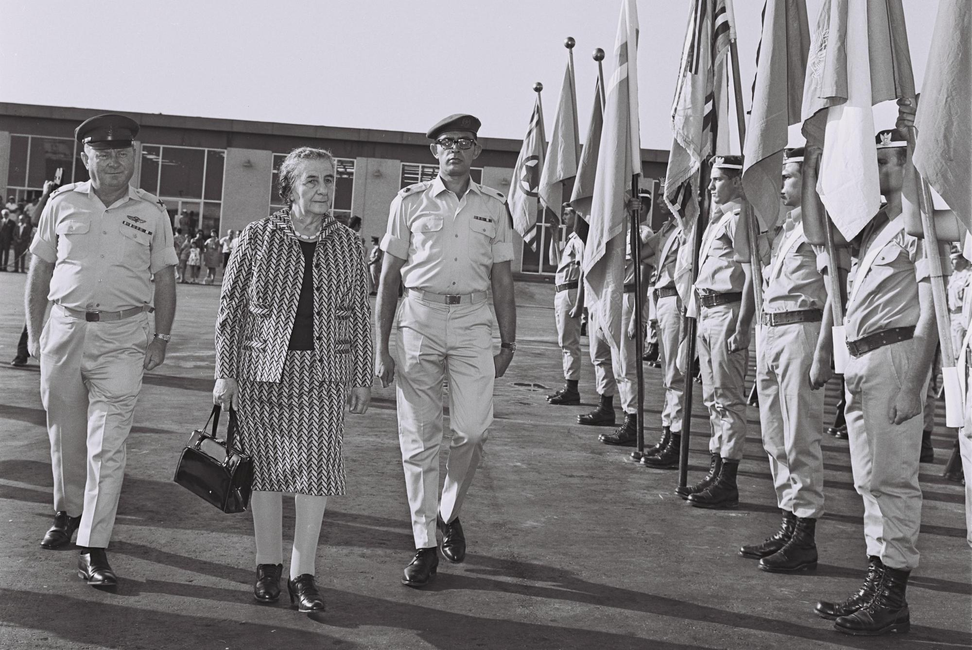 Prime Minister Golda Meir passing the Israeli Honor Guard before departing for an official visit to the U.S. (David Eldan/GPO)