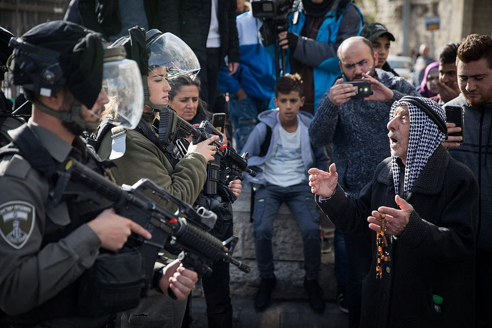 Israeli Border Police stand guard during a protest by Palestinians at Damascus Gate in the Old City of Jerusalem, following US President Donald Trump's announcement that he recognized Jerusalem as the capital of Israel, on December 7, 2017. Photo by Hadas Parush/Flash90