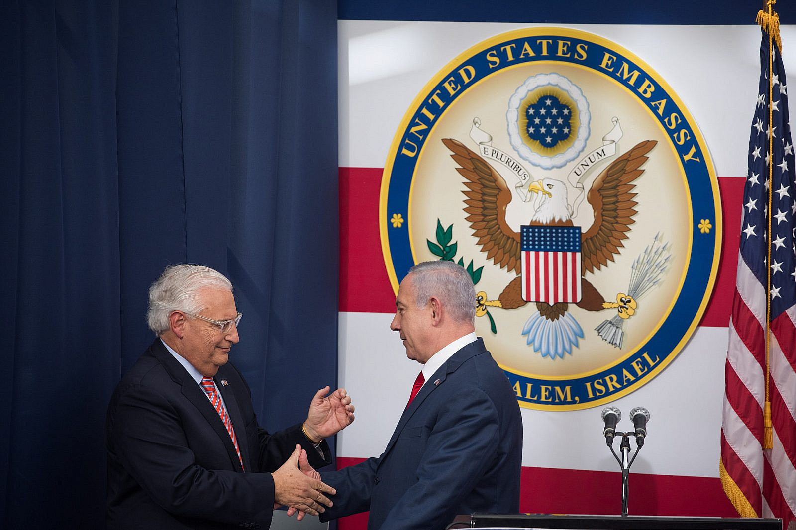 Prime Minister Benjamin Netanyahu with US Ambassador to Israel, David Friedman at the official opening ceremony of the U.S. embassy in Jerusalem on May 14, 2018. (Yonatan Sindel/Flash90)