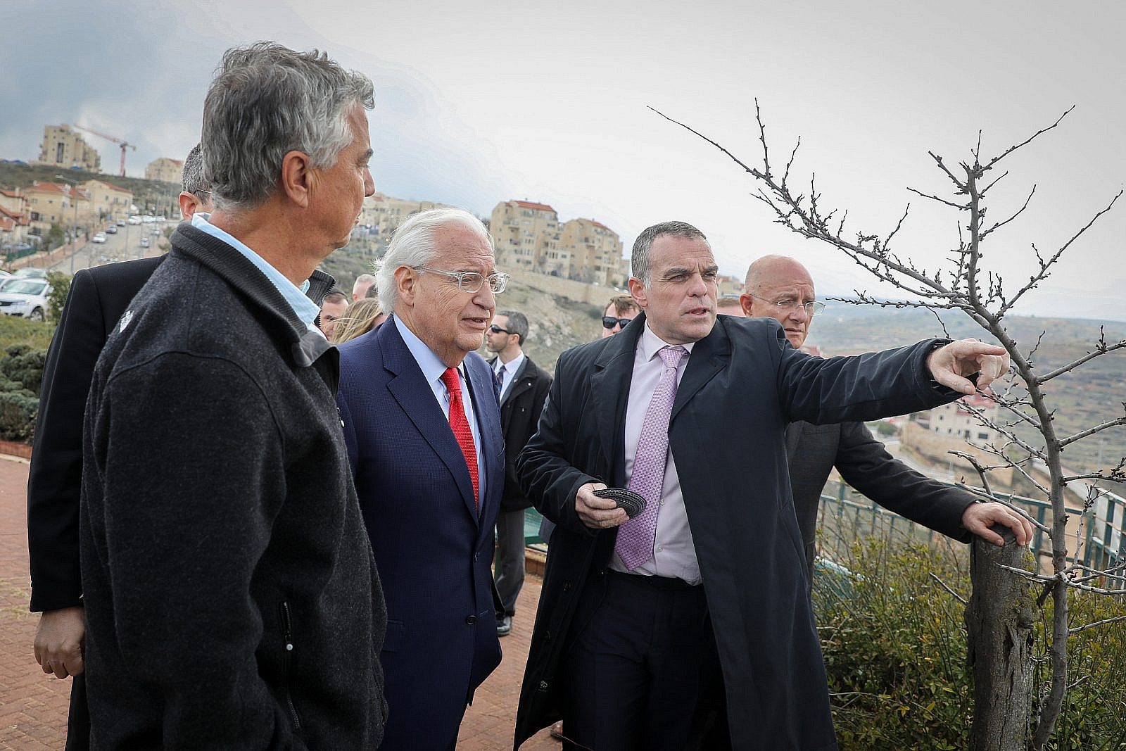 U.S. ambassador to Israel, David Friedman, with Head of Efrat regional council Oded Revivi and heads of local councils in Judea and Samaria during a visit to the settlement of Efrat, in Gush Etzion, February 20, 2020. (Gershon Elinson/Flash90)