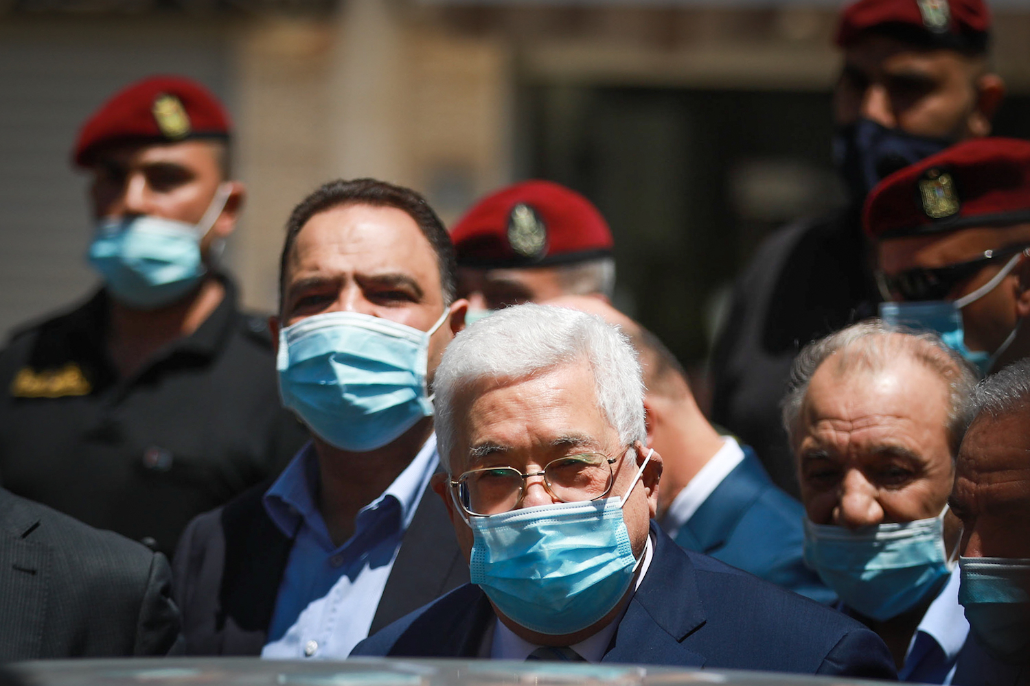 Palestinian president Mahmoud Abbas seen during a tour of Ramallah in the occupied West Bank, May 15, 2020. (Flash90)