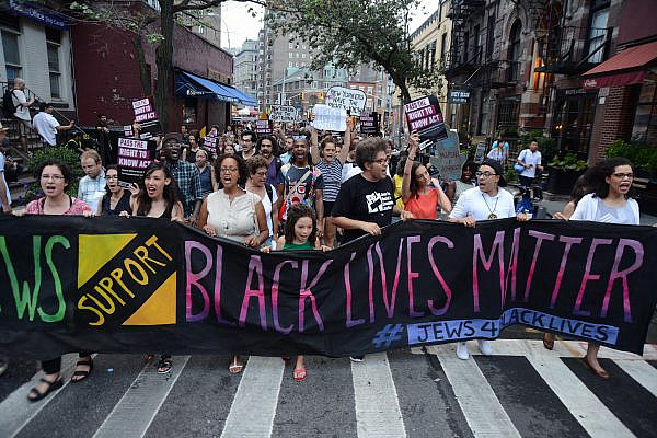 Hundreds of Jews take part in a protest in support of Black Lives Matter, New York City, August 11, 2016. (Gili Getz)