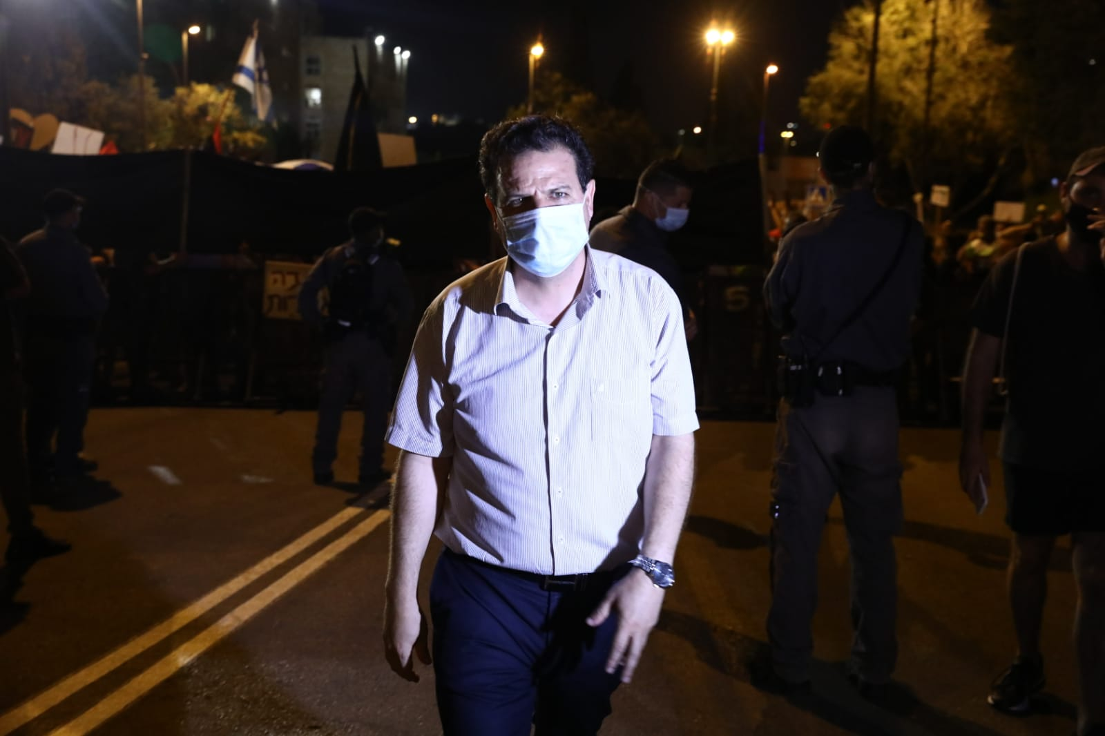 Joint List leader Ayman Odeh at the protest outside the Knesset, Jerusalem, July 21, 2020. (Oren Ziv)