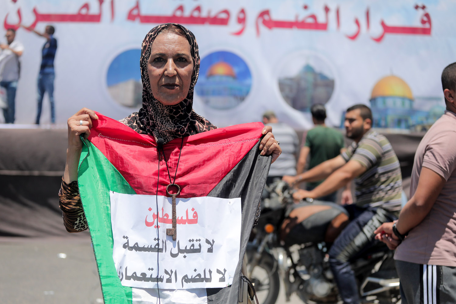 Palestinians in Gaza City demonstrate against Israel's plan to annex large swaths of the West Bank, July 1, 2020. (Mohammed Zaanoun)