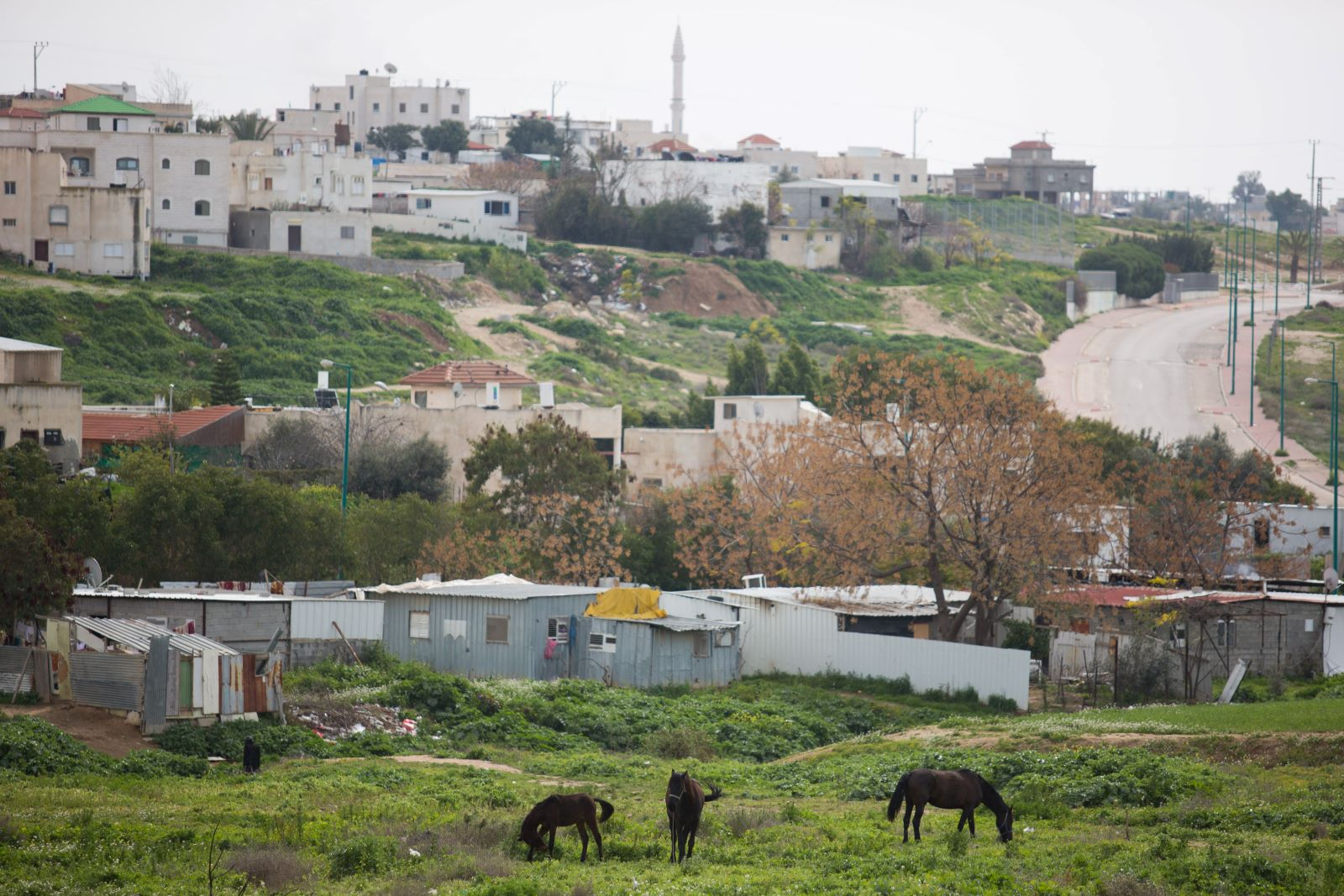 View of the Bedouin city of Rahat in southern Israel, February 13, 2016. (Nati Shohat/Flash90)