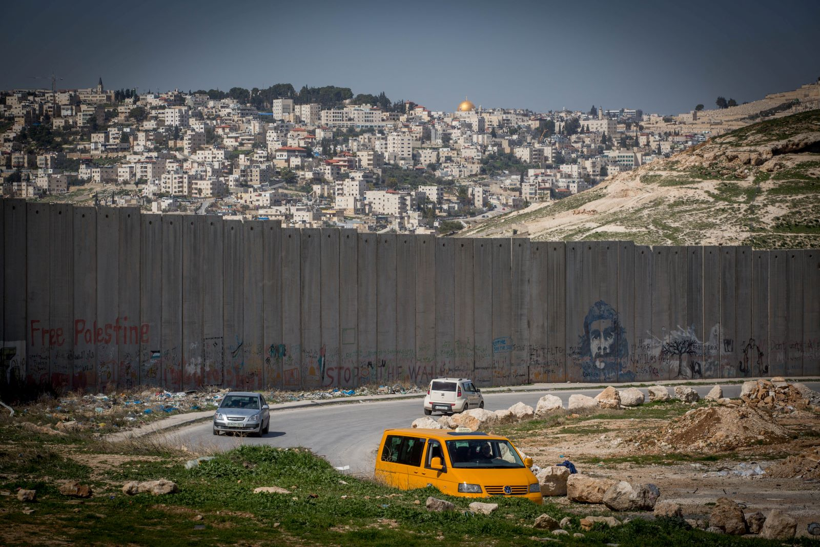 View of the Separation Wall as seen from the Palestinian village of Abu Dis near East Jerusalem. February 26, 2017. (Miriam Alster/Flash90)