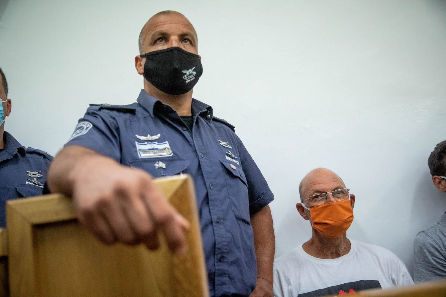 vAnti-Netanyahu activist Amir Haskel seen during a court hearing in the Jerusalem Magistrate's Court after being arrested during a protest the prime minister, June 27, 2020, Jerusalem. (Yonatan Sindel/Flash90)