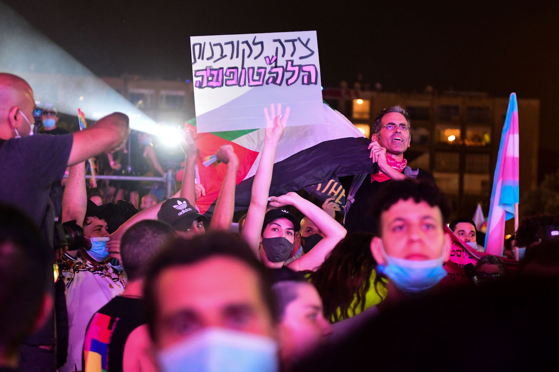 Activists at Tel Aviv Pride in Tel Aviv, on June 28, 2020. (Avshalom Sassoni/Flash90)