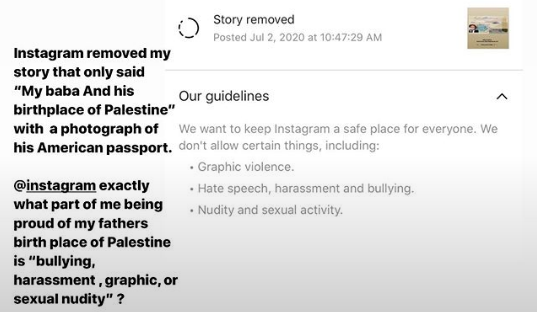 "Bella Hadid confronted Instagram for removing a photo she had reposted of her father's U.S. passport, which listed ""Palestine"" as his birthplace. (Bella Hadid/Instagram)"