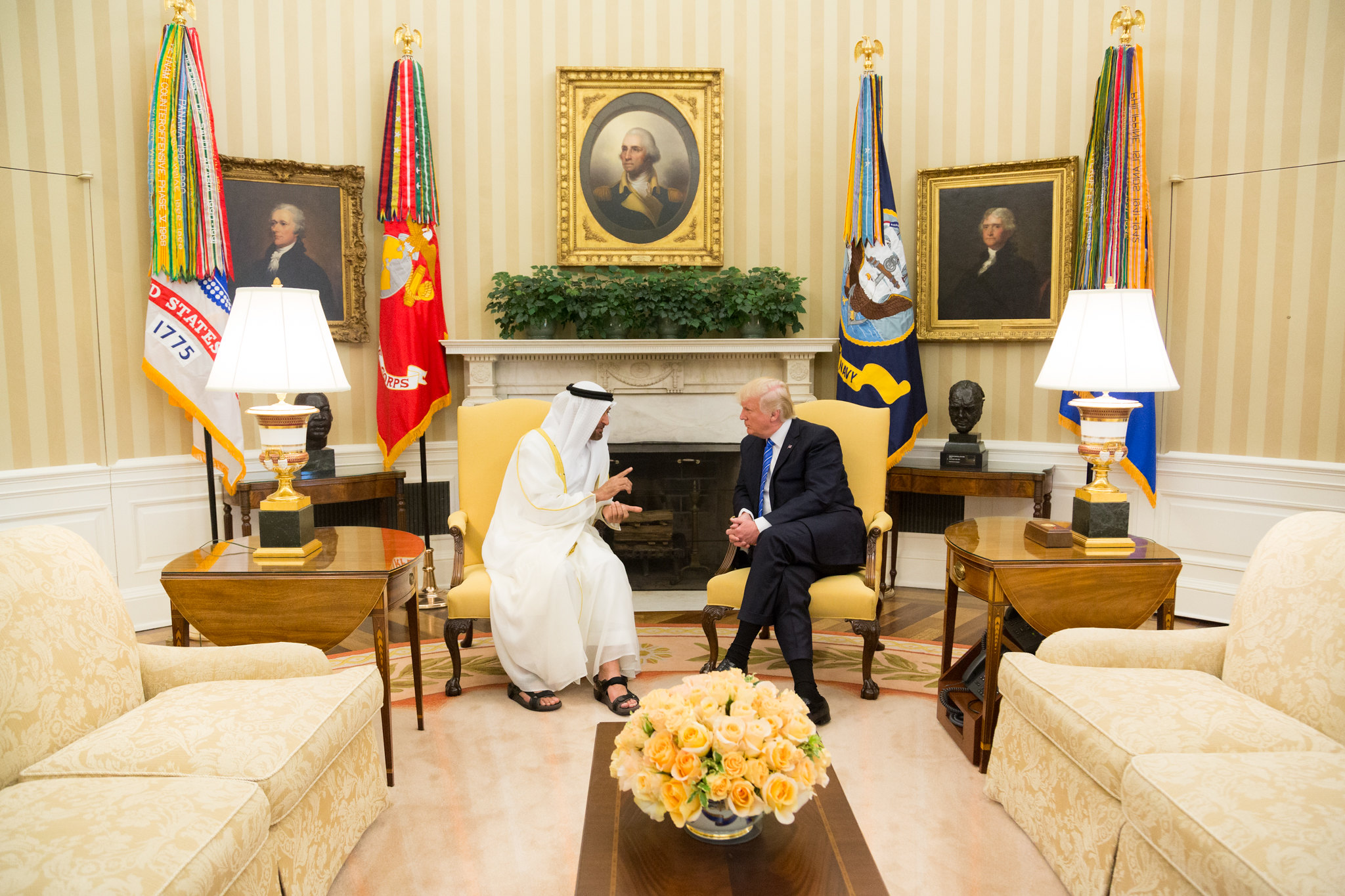 President Donald Trump meets with Sheikh Mohamed bin Zayed Al Nahyan, Crown Prince of Abu Dhabi, in the Oval Office of the White House, May 15, 2017, in Washington, D.C. (Official White House Photo/Shealah Craighead)