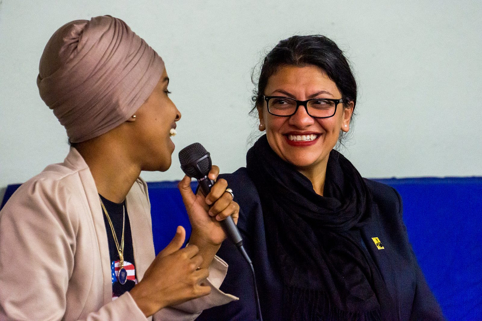 Congresswomen Ilhan Omar and Rashida Tlaib speak at an event hosted by CAIR-Minnesota in Minneapolis, August 19, 2019. (Brad Sigal/Flickr)