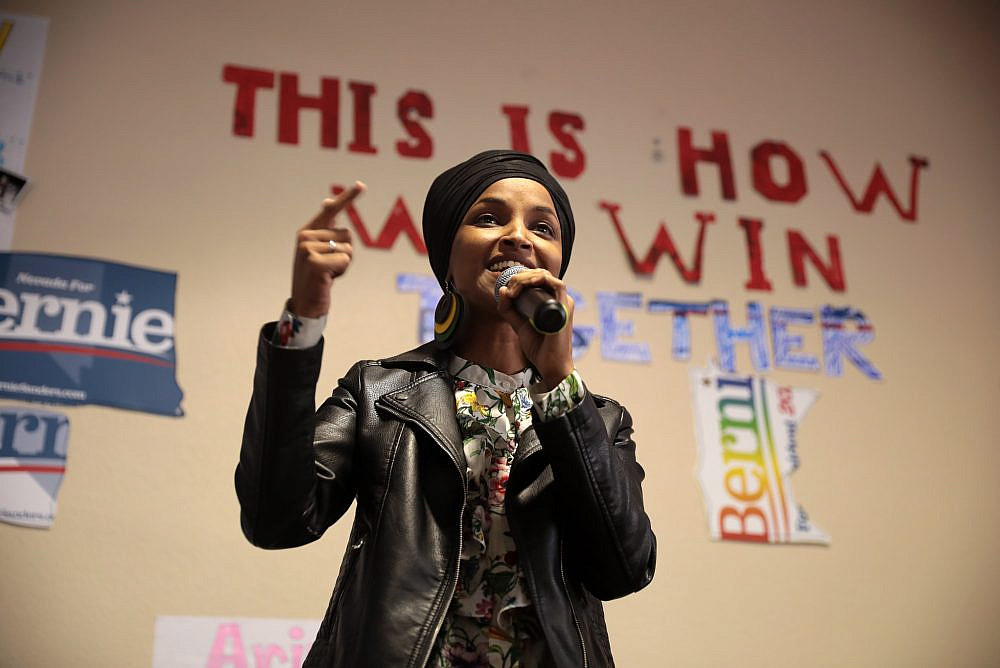 U.S. Congresswoman Ilhan Omar speaking with supporters of U.S. Senator Bernie Sanders at a campaign office in Las Vegas, Nevada. February 9, 2020. (Gage Skidmore/Flickr)