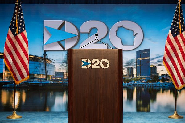 Podium at the 2020 Democratic National Convention in Milwaukee, Wisconsin. (DNC Official Photo)