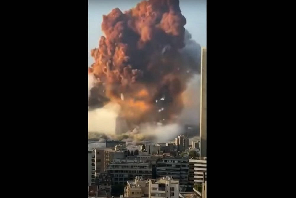 Twitter screenshot of a video of the explosion in the port of Beirut on August 4, 2020.