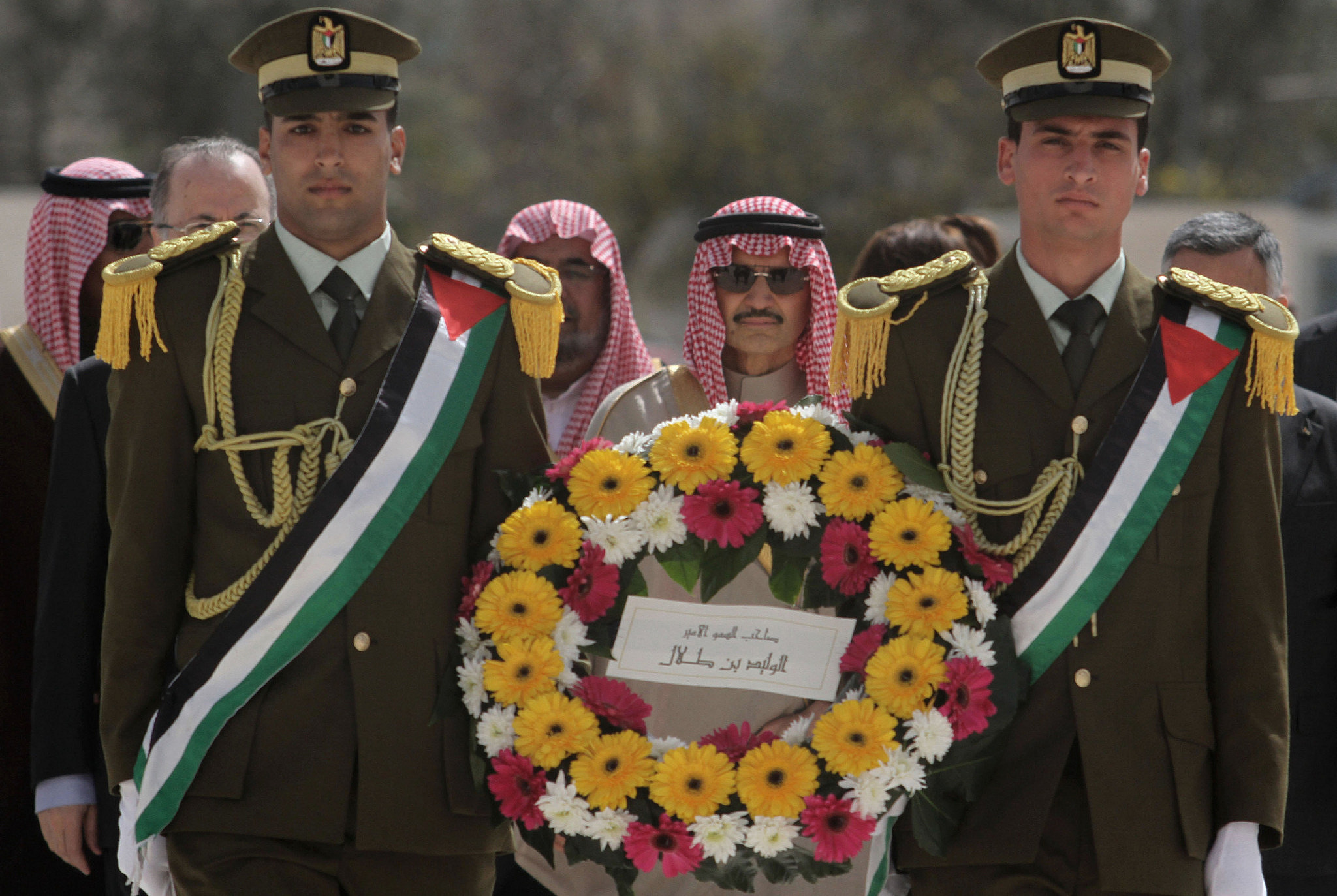Saudi prince Al-Walid bin Talal seen upon his arrival at the Muqata'a Compound during an official visit to the West Bank city of Ramallah on March 4, 2014. (Issam Rimawi/Flash90)