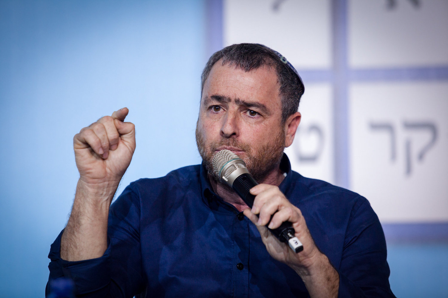 Right-wing commentator Shimon RIklin attends the Israel Conference on Democracy, Tel Aviv February 17, 2015. (Amir Levy/Flash90)