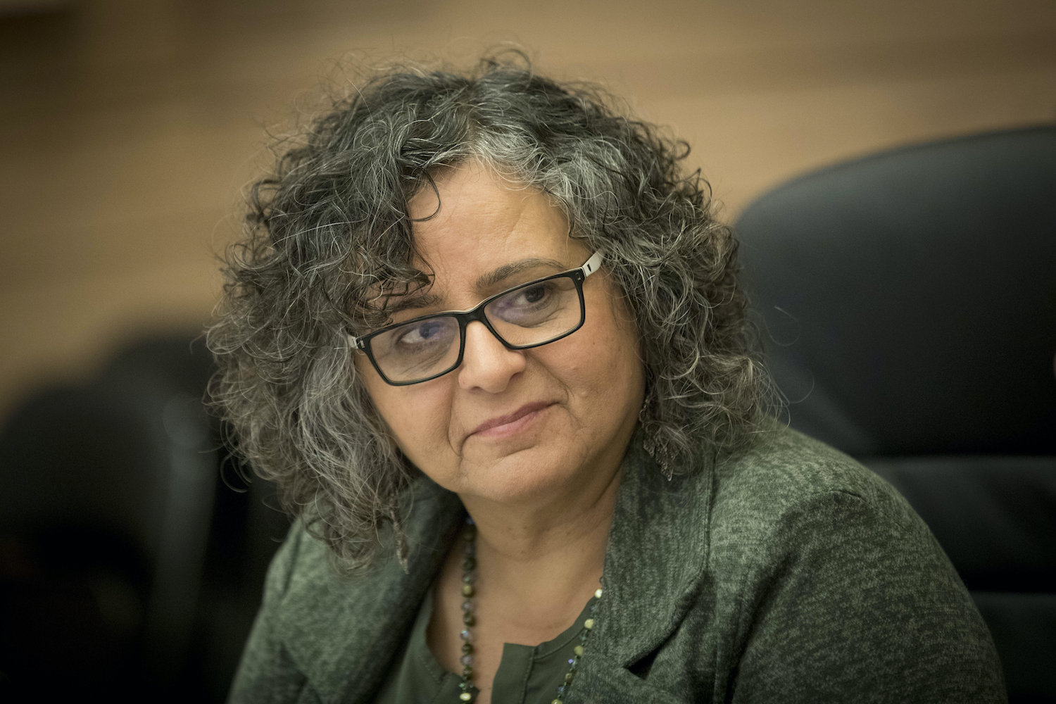 Joint List Knesset member Aida Touma-Sliman leads a Status of Women and Gender Equality Committee meeting at the Israeli parliament on December 27, 2016. (Yonatan Sindel/Flash90)