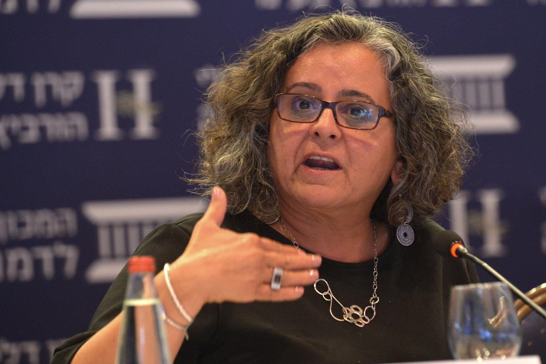 MK Aida Touma0Sliman at the Eli Horowitz Conference for Economy and Society, Jerusalem, June 19, 2018. (Yossi Zeliger/Flash90)