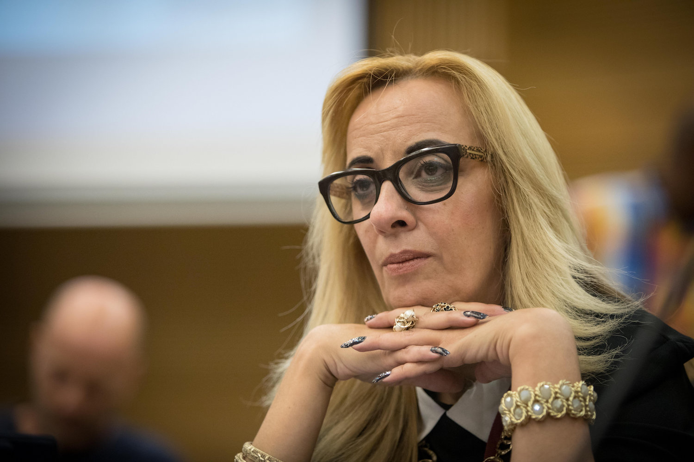 Social justice activist Orna Peretz attends a meeting in the Knesset, Jerusalem, October, 23 2018. (Noam Revkin Fenton/Flash90)