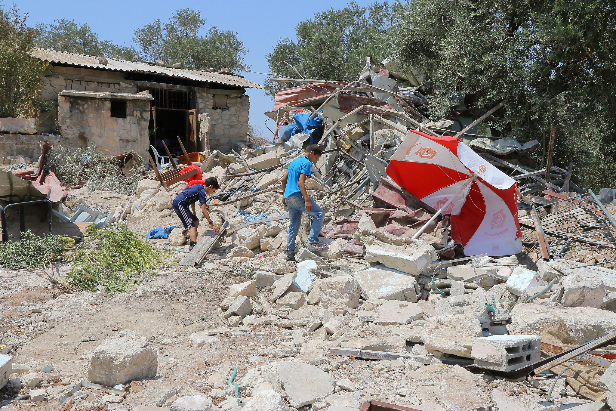Demolition of Palestinian tourist facility in Sebastia, West Bank, for being built in Area C without Israeli permits, May 27, 2020. (Ahmad al-Bazz/Activestills)