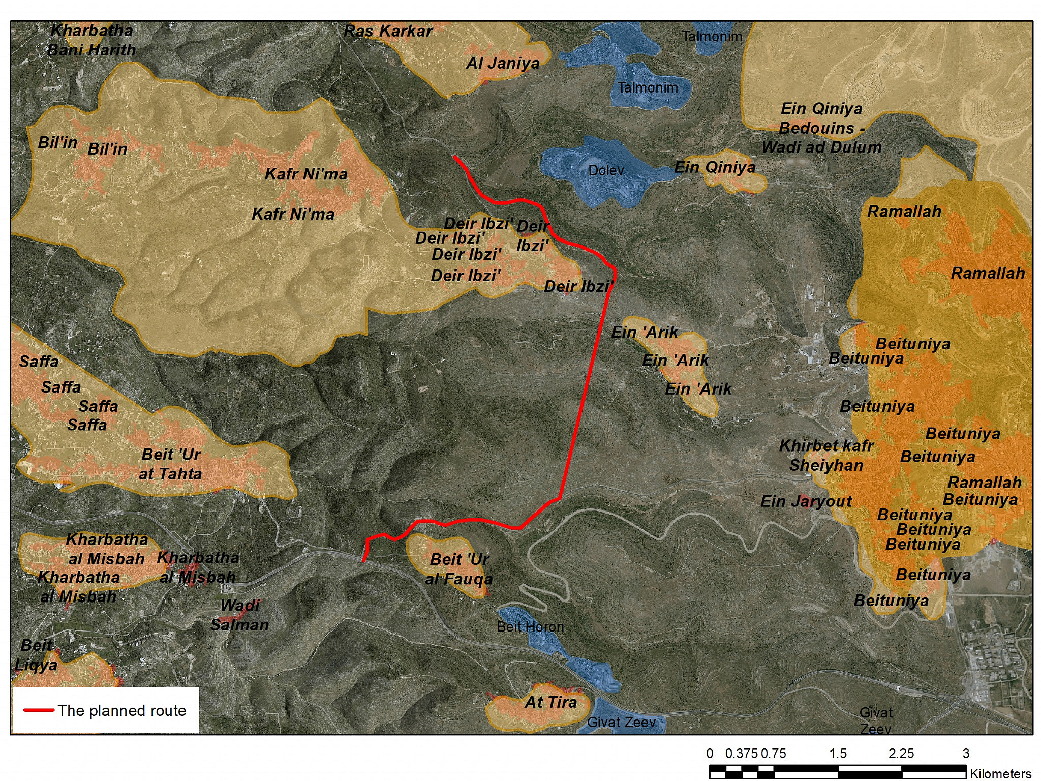 A map of Road 935. (Courtesy of Kerem Navot)
