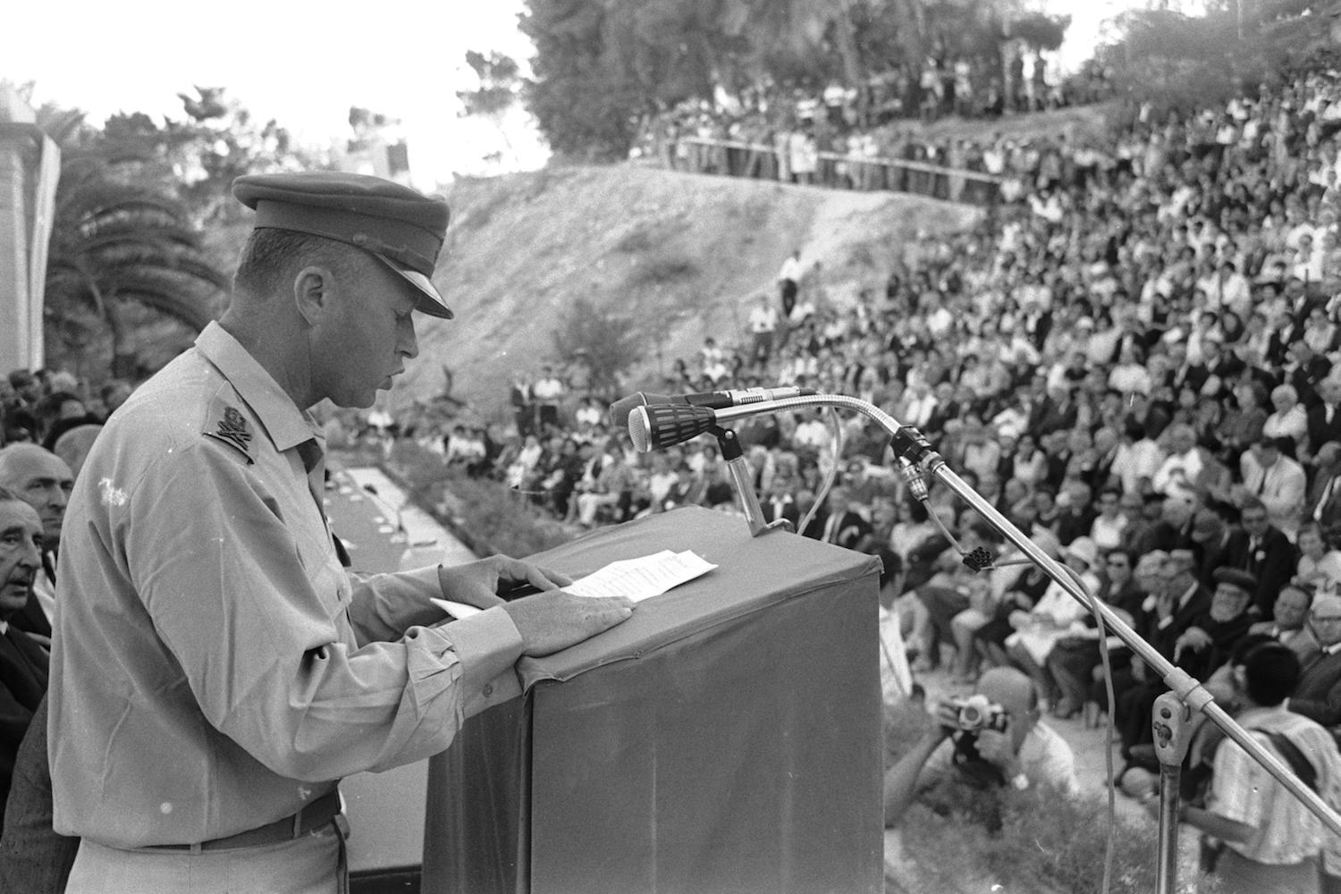 IDF Chief of Staff Yitzhak Rabin speaks at the Mount Scopus amphitheater after receiving an honorary doctorate from the Hebrew University at the end of the 1967 war, June 28, 1967. (Ilan Bruner/GPO)