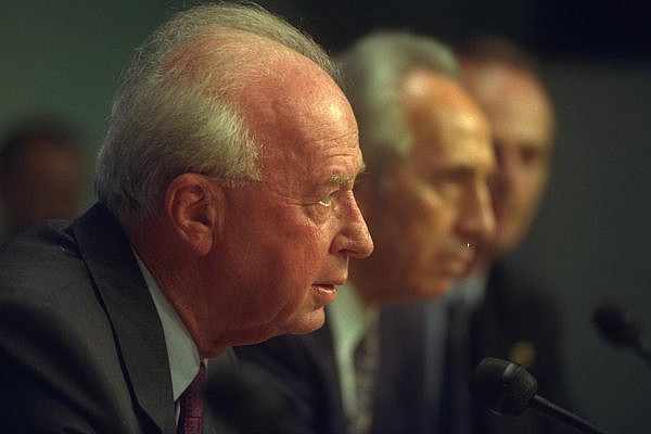 Israeli Prime Minister Yitzhak Rabin speaking during a Paris press conference, July 7, 1994. (Saar Yaacov/GPO)