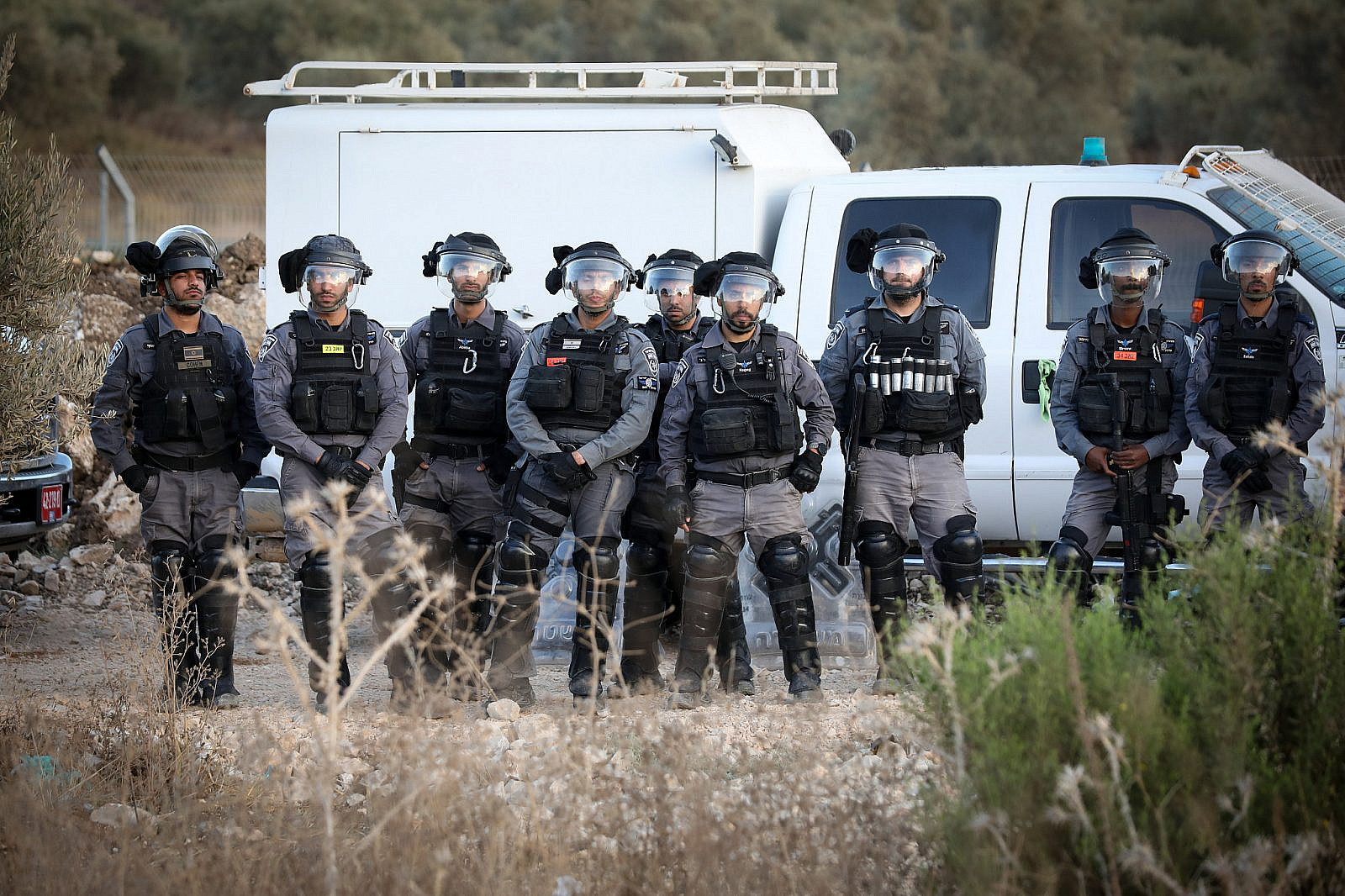 Israeli police at a protest of thousands of Palestinian citizens against violence, organized crime, and recent killings in their communities, in the Arab town of Majd al-Krum, northern Israel, October 3, 2019. (David Cohen/Flash90)