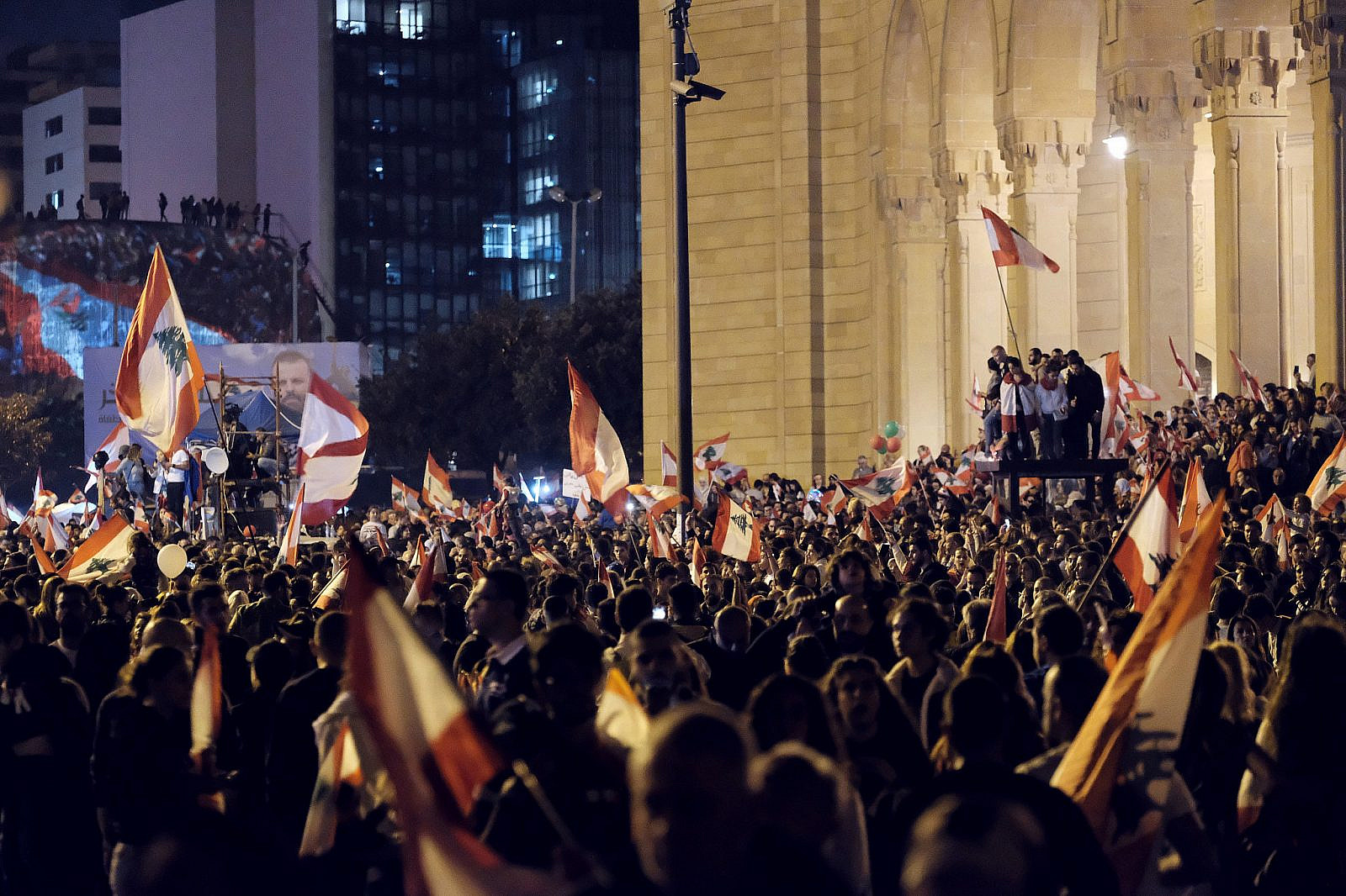 Protests in the evening of Lebanon's 76th Independence Day celebration in Martyr's Square, Beirut, November 22, 2019. (Nadim Kobeissi/Wikimedia Commons)