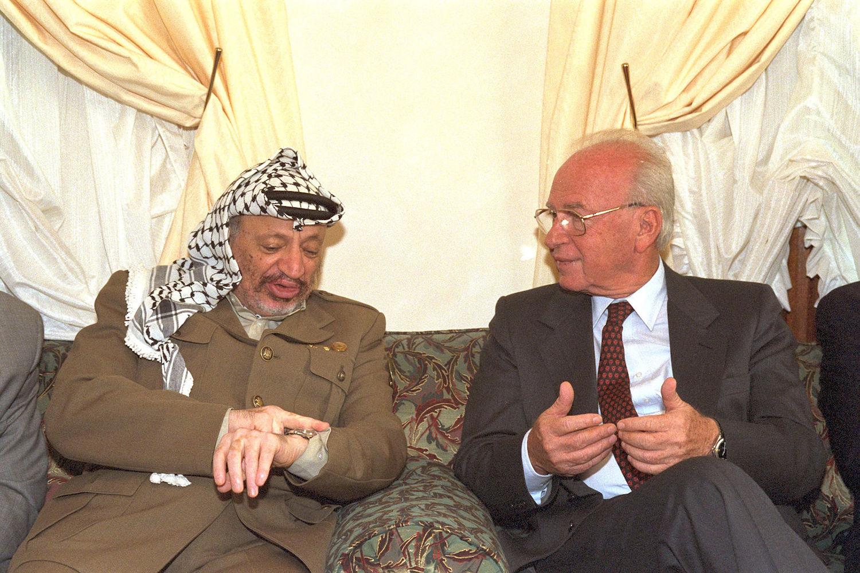 Israeli Prime Minister Yitzhak Rabin meets with PLO leader Yasser Arafat in Casablanca, Morocco, October 30, 1994. (Saar Yaacov/GPO)