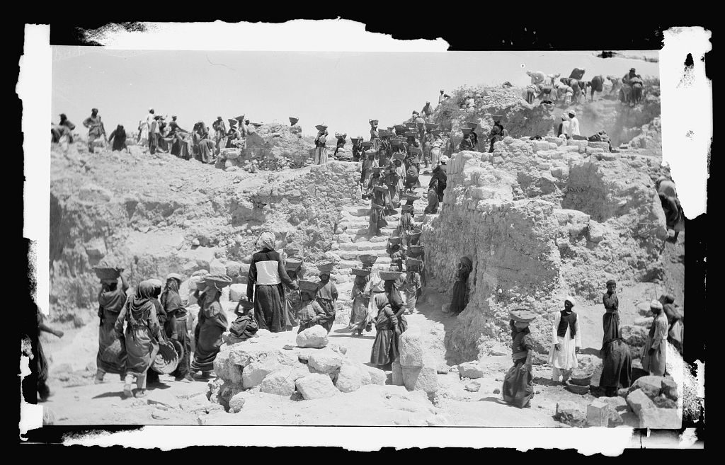 The excavations at Samaria, unearthing Ahab's Palace, published approximately 1900 to 1920. (G. Eric and Edith Photograph Collection, Library of Congress)