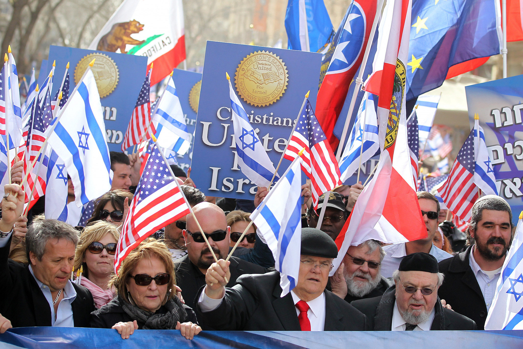 Members of Christians United for Israel at a pro-Israel march in downtown Jerusalem, March 19, 2012. (Nati Shohat Flash90)