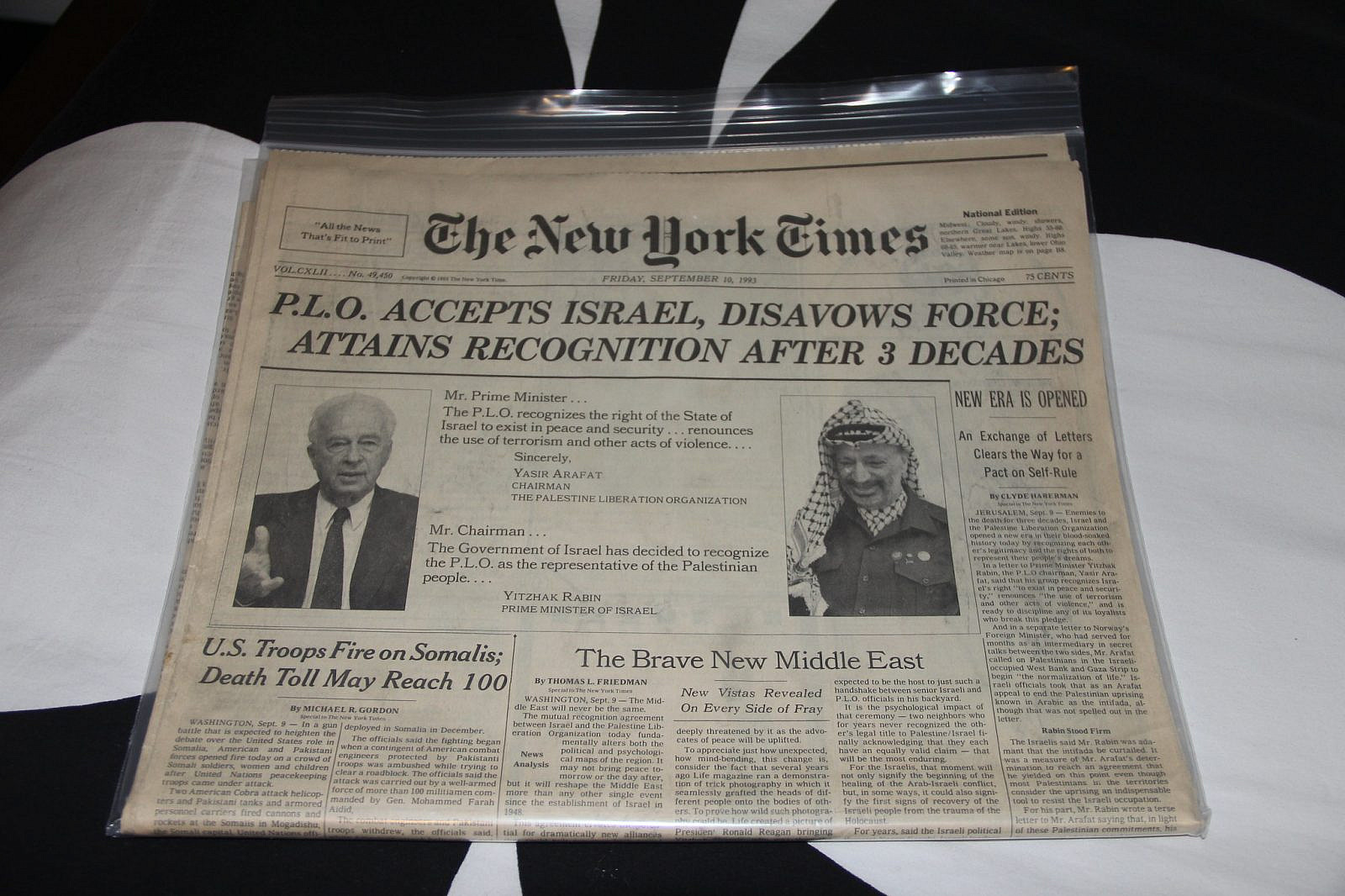 New York Times cover story on the signing of the Oslo Accords, September 10, 1993 (Daniel X. O'Neil/Flickr)