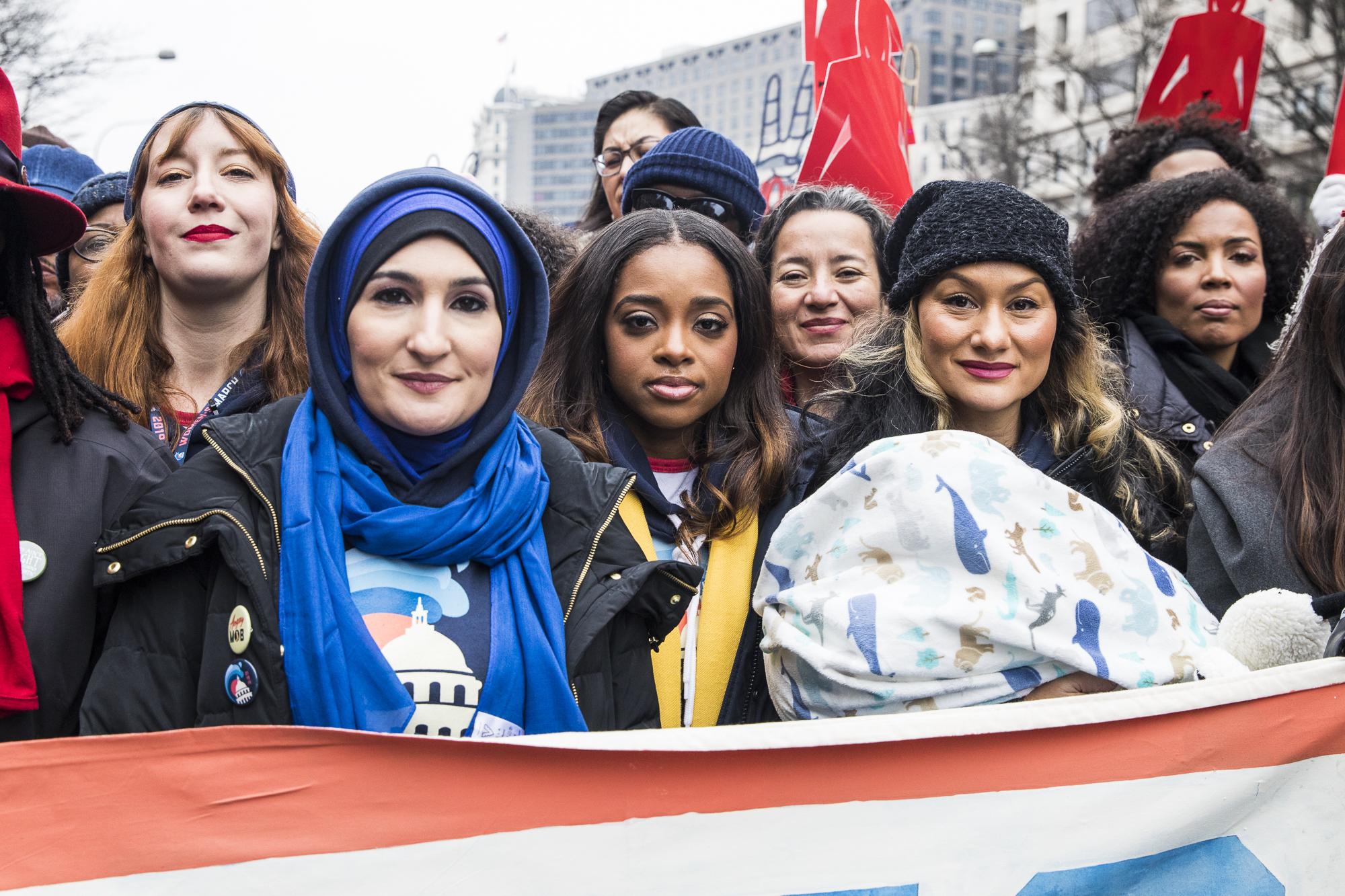 Linda Sarsour seen alongside the other organizers of the Women's March, including Bob Bland, Tamika Mallory, and Carmen Perez, January 21, Washington DC. (Kisha Bari)