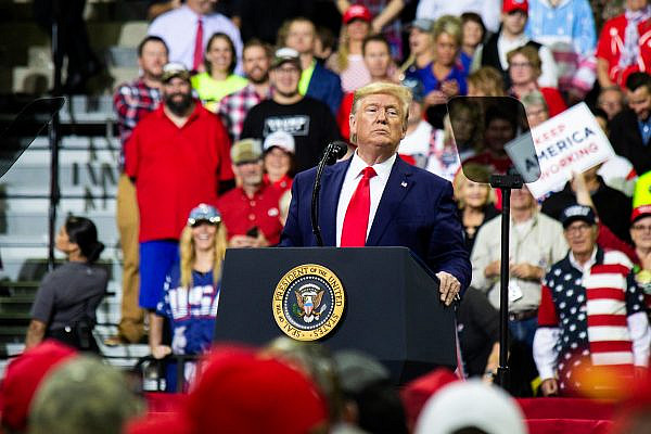 President Donald Trump addresses the crowd at Target Center in Minneapolis, MN, for his 2020 presidential campaign rally on October 10, 2019. (Nikolas Liepins/Flickr)