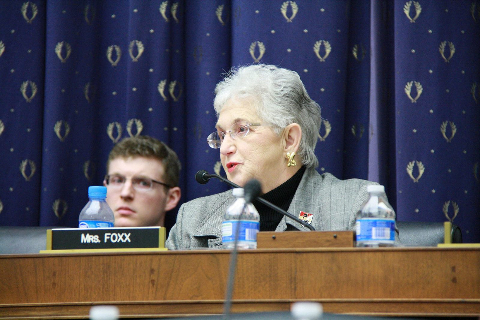 "Congresswoman Virginia Foxx talks with witnesses at the Education and Workforce Committee hearing on ""Streamlining Federal Education and Workforce Programs: A look at the GAO Report on Government Waste,"" April 6, 2011. (Virginia Foxx/Flickr)"
