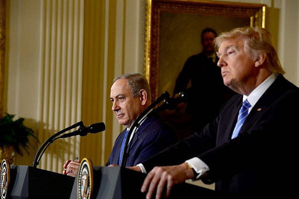 U.S. President Donald Trump and Israeli Prime Minister Benjamin Netanyahu during the prime minister's visit to the White House, Washington DC, February 15, 2017. (Avi Ohayon/GPO)