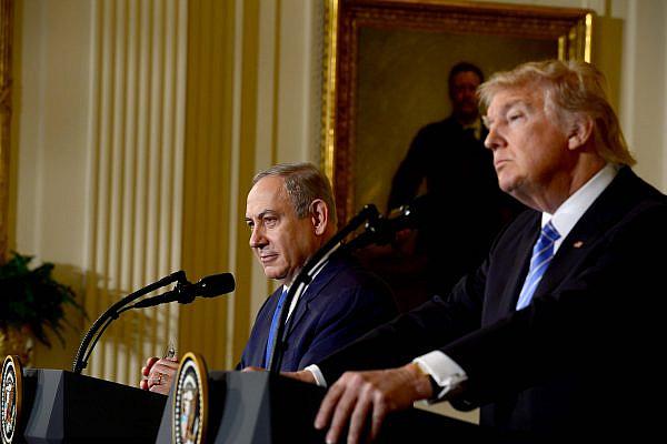 U.S. President Donald Trump and Israeli Prime Minister Benjamin Netanyahu during the prime minister's visit to the White House, Washington DC, February 15, 2017. (Avi Ohayon/GPO)