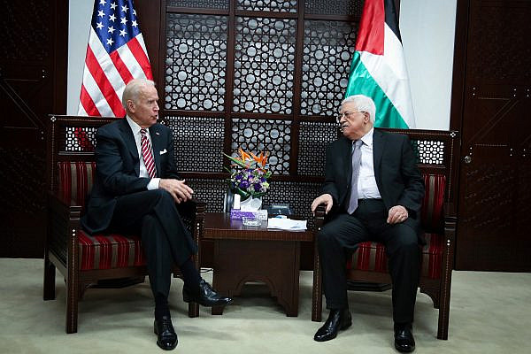 U.S. Vice President Joe Biden meets with Palestinian President Mahmoud Abbas, in the West Bank city of Ramallah, March 9, 2016. (Flash90)