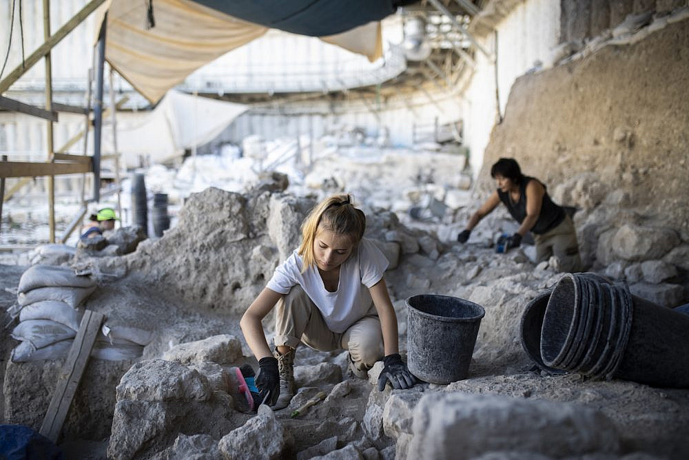 Workers at the City of David archaeological site, near Jerusalem's Old City, on July 22, 2019. (Hadas Parush/Flash90)