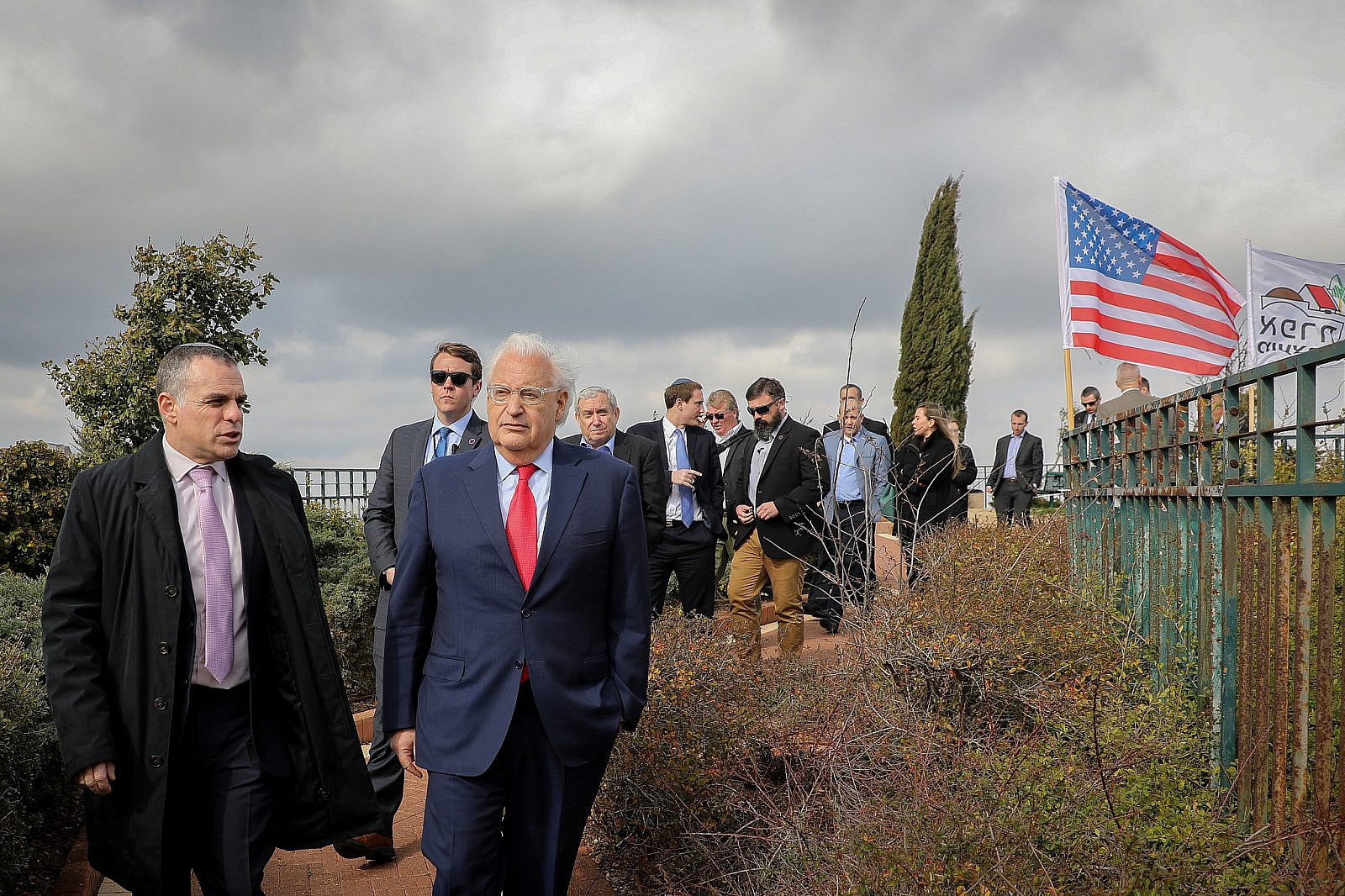 U.S. ambassador to Israel David Friedman, with the Head of Efrat regional council Oded Revivi and other heads of local councils in Judea and Samaria (West Bank), during a visit to the settlement of Efrat, in Gush Etzion, February 20, 2020. (Gershon Elinson/Flash90)