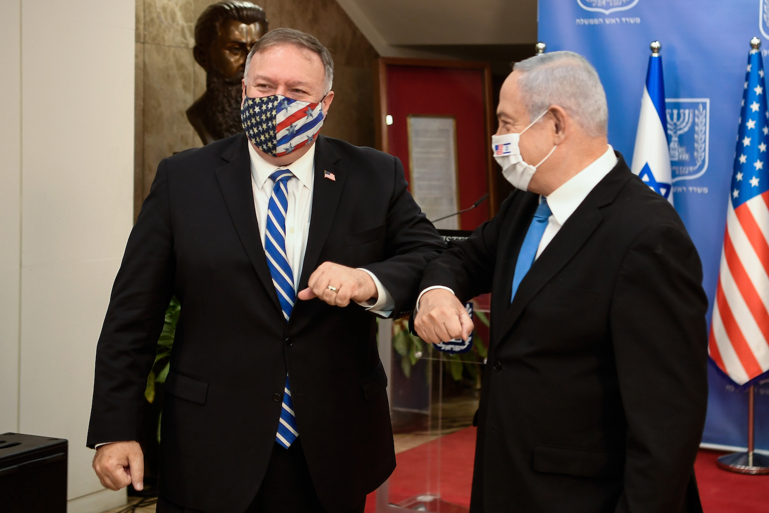U.S. Secretary of State Michael Pompeo and Israeli Prime Minister Benjamin Netanyahu give a joint statement in Jerusalem on August 24, 2020. (Matty Stern/U.S. Embassy Jerusalem)