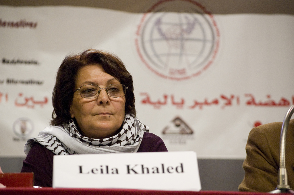 Leila Khaled at the Beirut International Forum for Resistance, Anti-Imperialism, Solidarity between Peoples, and Alternatives Beirut, January 18, 2009.