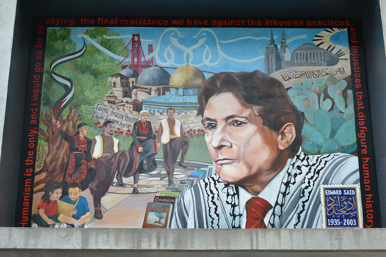Palestinian Cultural Mural honoring intellectual and professor Edward Said, San Francisco State University, July 27, 2012. (Briantrejo/Wikimedia)