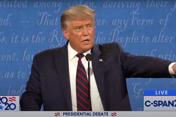 U.S. President Donald Trump speaks during the first presidential debate of the 2020 election campaign, Cleveland, Ohio, September 29, 2020. (Screenshot)