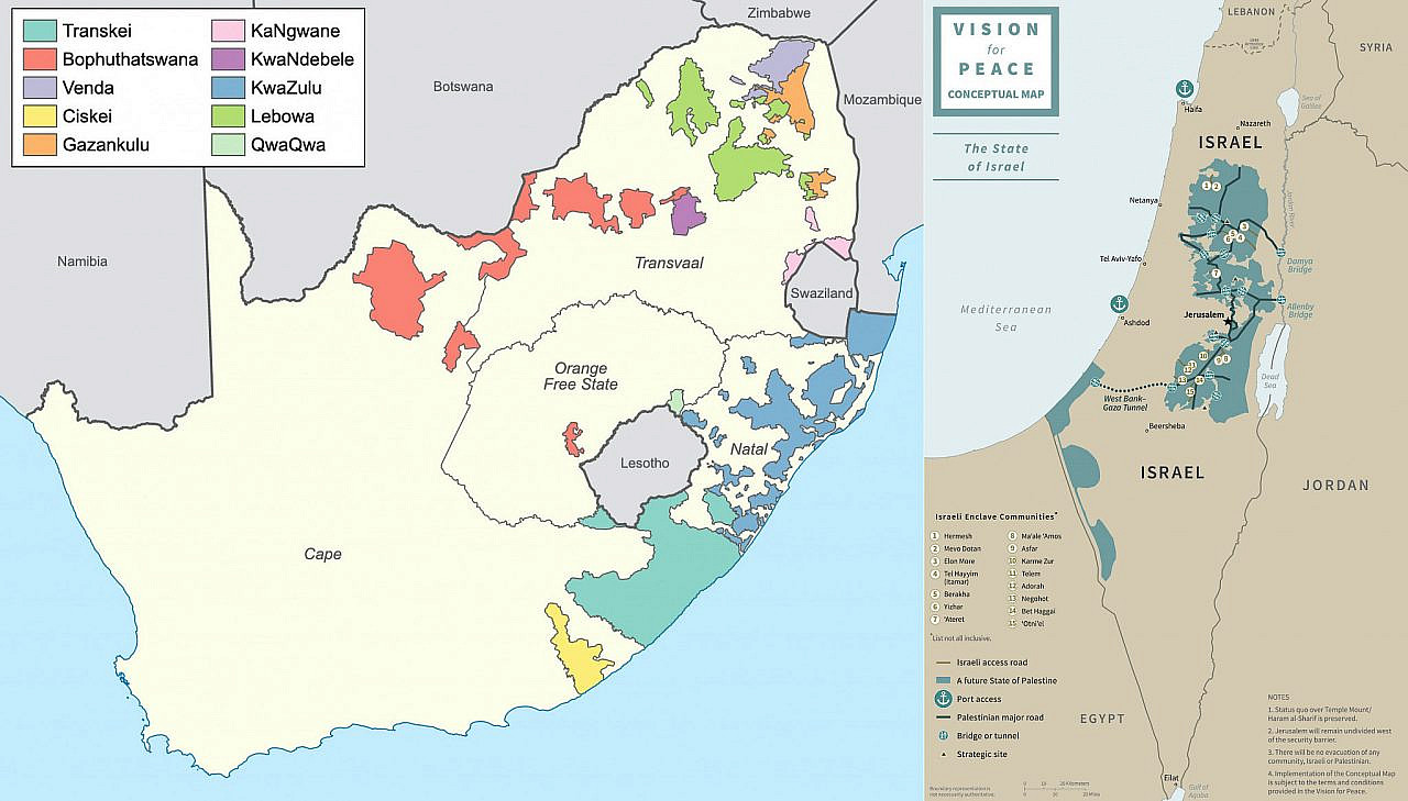Left: A map of South Africa's Bantustans at the end of apartheid in 1994. Right: Map of proposed Israeli-Palestinian borders as part of U.S. President Donald Trump's