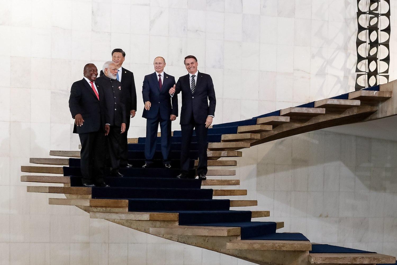 South African President Cyril Ramaphosa meets with Indian PM Narendra Modi, Chinese Premier Xi Jinping, Russian President Vladimir Putin and Brazil's leader Jair Bolosonaro during a BRICS meeting of the five major emerging national economies, Brasilia, Brazil, November 14, 2019. (Alan Santos/CC BY 2.0)