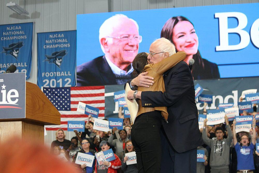 Sen. Bernie Sanders and Rep. Alexandria Ocasio-Cortez at a rally in Council Bluffs, Iowa, November 8, 2019. (Matt Johnson/CC BY 2.0)