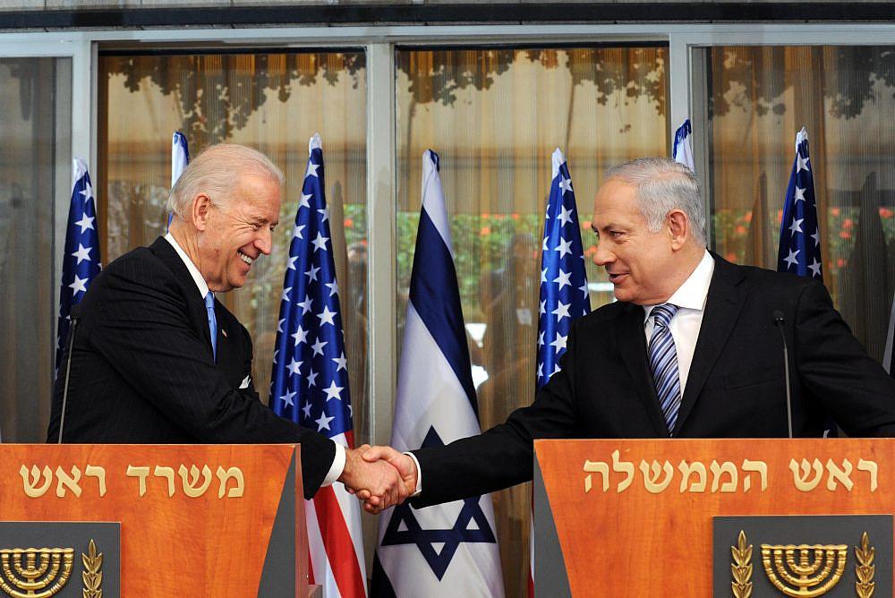 Prime Minister Benjamin Netanyahu meets U.S. Vice President Joe Biden in Jerusalem. (Avi Ohayon/GPO)