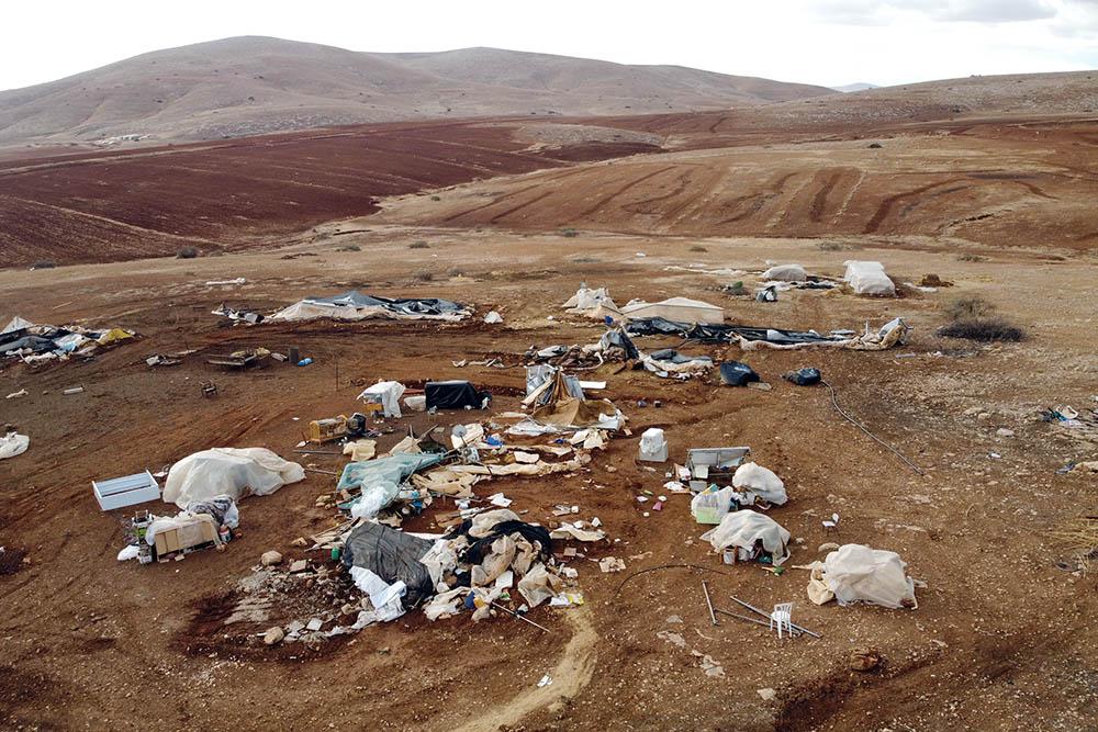 The Palestinian community of Humsa al-Fuqa, in the occupied West Bank, following an Israeli demolition operation, November 4, 2020. (Ahmad al-Bazz/Activestills)